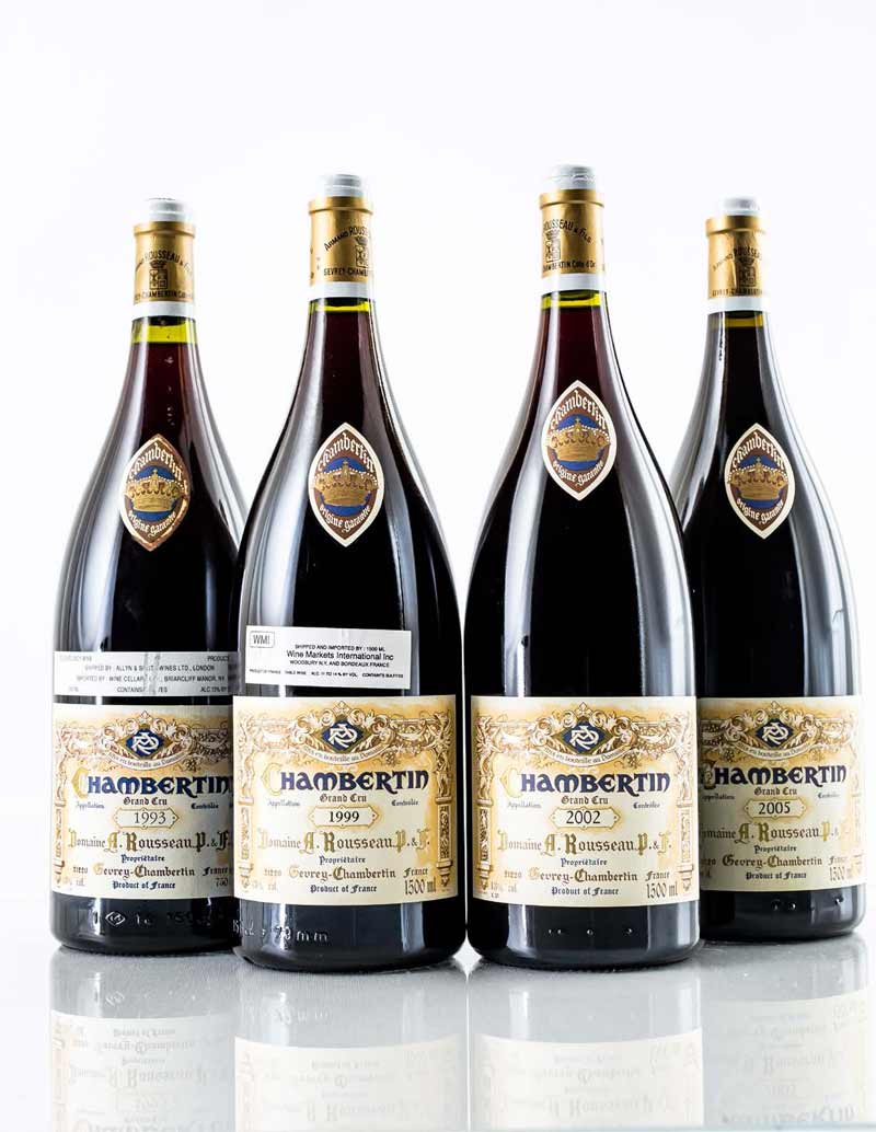Lot 1014-1016: 1 magnum each 1993, 1999, 2002 and 2005 A. Rousseau Chambertin