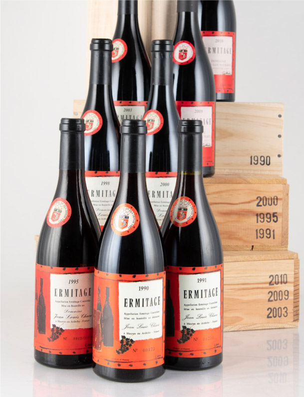 Lot 661: 8 bottles 1990-2010 All Vintages Produced of J.L. Chave Ermitage Cuvée Cathelin