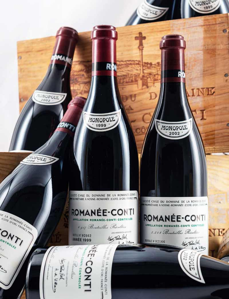 6 bottles each 1999 and 2002 DRC Romanee Conti in OWCs (Lots 230, 231